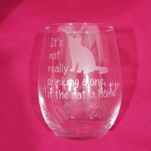Other - Cat themed Stemless wine glass